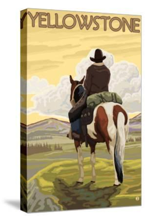 Cowboy & Horse, Yellowstone National Park-Lantern Press-Stretched Canvas Print