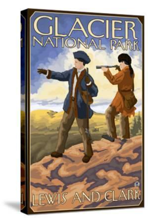 Lewis and Clark, Glacier National Park, Montana-Lantern Press-Stretched Canvas Print
