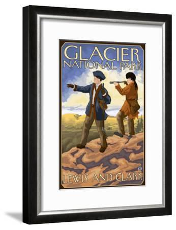 Lewis and Clark, Glacier National Park, Montana-Lantern Press-Framed Art Print