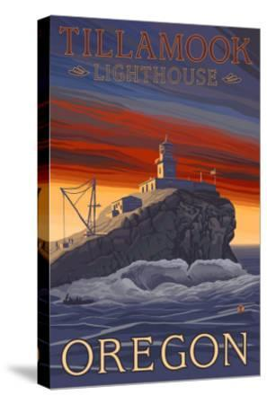 Tillamook Lighthouse, Oregon-Lantern Press-Stretched Canvas Print