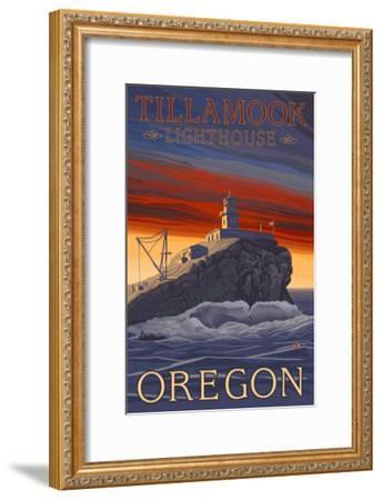 Tillamook Lighthouse, Oregon-Lantern Press-Framed Art Print