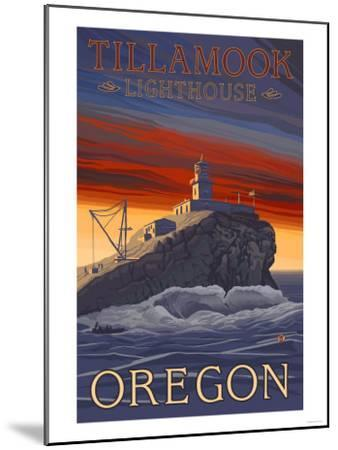 Tillamook Lighthouse, Oregon-Lantern Press-Mounted Art Print