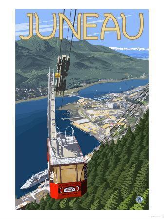 Tram over Juneau, Alaska-Lantern Press-Framed Art Print