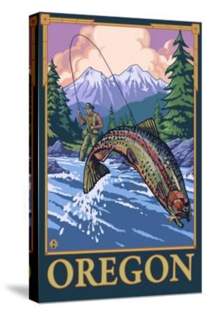 Fly Fishing Scene, Oregon-Lantern Press-Stretched Canvas Print
