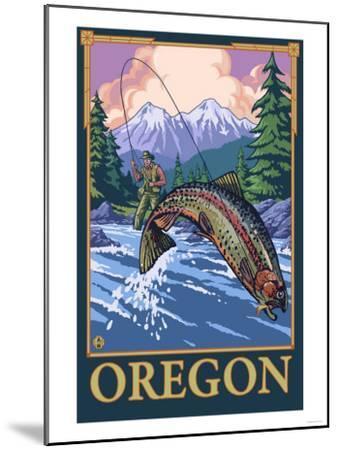 Fly Fishing Scene, Oregon-Lantern Press-Mounted Art Print