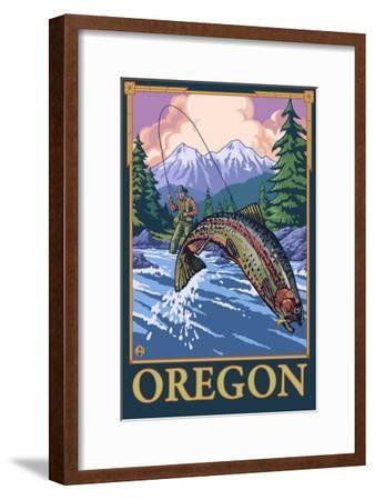 Fly Fishing Scene, Oregon-Lantern Press-Framed Art Print