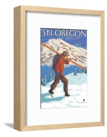 Skier Carrying Snow Skis, Oregon-Lantern Press-Framed Art Print
