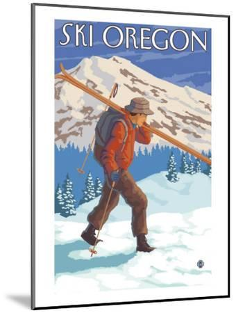 Skier Carrying Snow Skis, Oregon-Lantern Press-Mounted Art Print