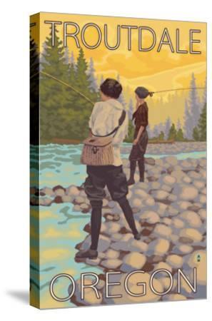 Women Fly Fishing, Troutdale, Oregon-Lantern Press-Stretched Canvas Print