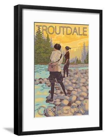 Women Fly Fishing, Troutdale, Oregon-Lantern Press-Framed Art Print