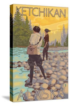 Women Fly Fishing, Ketchikan, Alaska-Lantern Press-Stretched Canvas Print