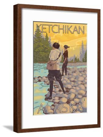 Women Fly Fishing, Ketchikan, Alaska-Lantern Press-Framed Art Print