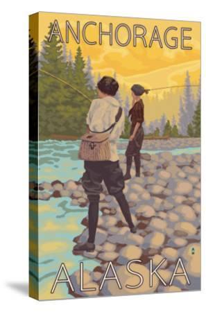 Women Fly Fishing, Anchorage, Alaska-Lantern Press-Stretched Canvas Print