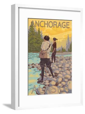 Women Fly Fishing, Anchorage, Alaska-Lantern Press-Framed Art Print