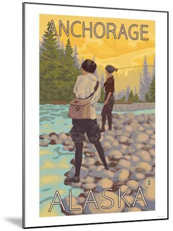 Women Fly Fishing, Anchorage, Alaska-Lantern Press-Mounted Art Print