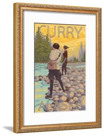 Women Fly Fishing, Curry, Alaska-Lantern Press-Framed Art Print