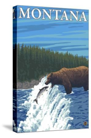 Bear Fishing in River, Montana-Lantern Press-Stretched Canvas Print