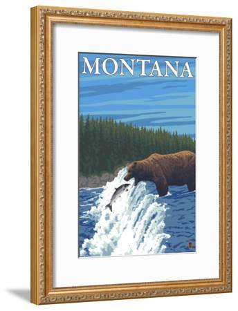 Bear Fishing in River, Montana-Lantern Press-Framed Art Print