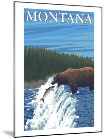 Bear Fishing in River, Montana-Lantern Press-Mounted Art Print