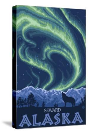 Northern Lights, Seward, Alaska-Lantern Press-Stretched Canvas Print