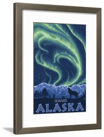 Northern Lights, Seward, Alaska-Lantern Press-Framed Art Print