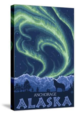 Northern Lights, Anchorage, Alaska-Lantern Press-Stretched Canvas Print