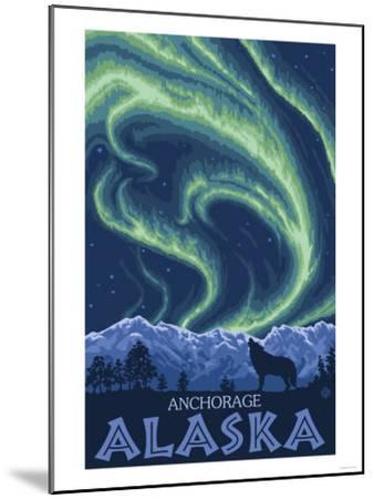 Northern Lights, Anchorage, Alaska-Lantern Press-Mounted Art Print