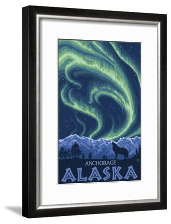 Northern Lights, Anchorage, Alaska-Lantern Press-Framed Art Print