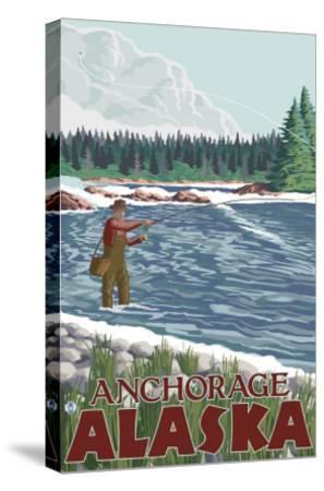 Fly Fisherman, Anchorage, Alaska-Lantern Press-Stretched Canvas Print