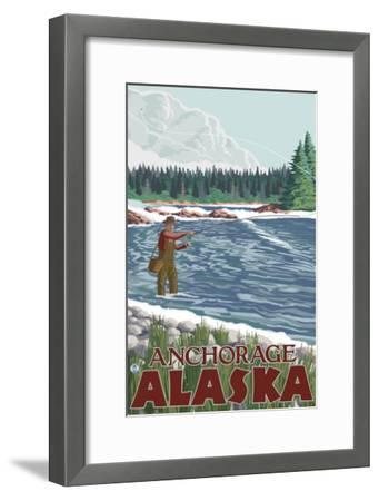 Fly Fisherman, Anchorage, Alaska-Lantern Press-Framed Art Print