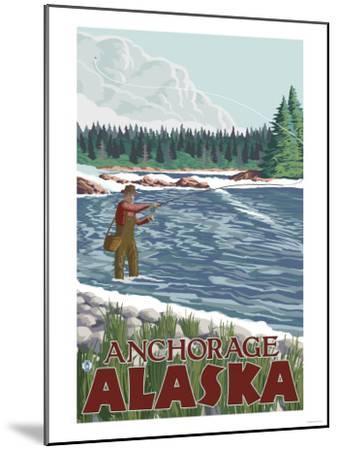 Fly Fisherman, Anchorage, Alaska-Lantern Press-Mounted Art Print