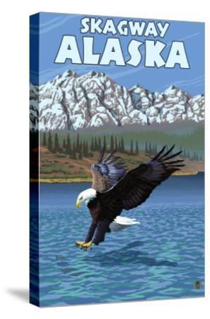 Bald Eagle Diving, Skagway, Alaska-Lantern Press-Stretched Canvas Print