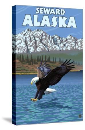 Bald Eagle Diving, Seward, Alaska-Lantern Press-Stretched Canvas Print