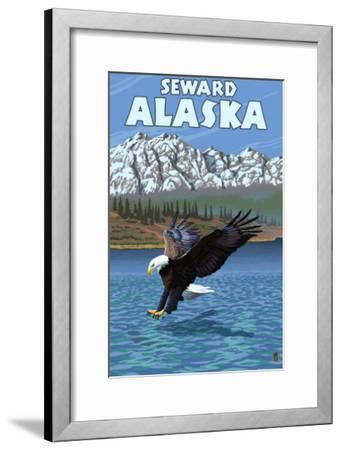 Bald Eagle Diving, Seward, Alaska-Lantern Press-Framed Art Print
