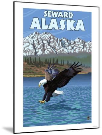 Bald Eagle Diving, Seward, Alaska-Lantern Press-Mounted Art Print