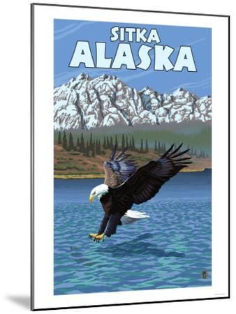 Bald Eagle Diving, Sitka, Alaska-Lantern Press-Mounted Art Print