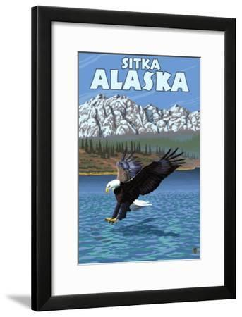Bald Eagle Diving, Sitka, Alaska-Lantern Press-Framed Art Print