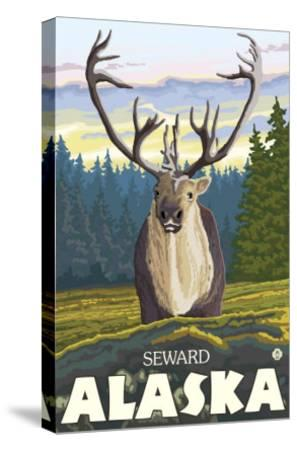 Caribou in the Wild, Seward, Alaska-Lantern Press-Stretched Canvas Print