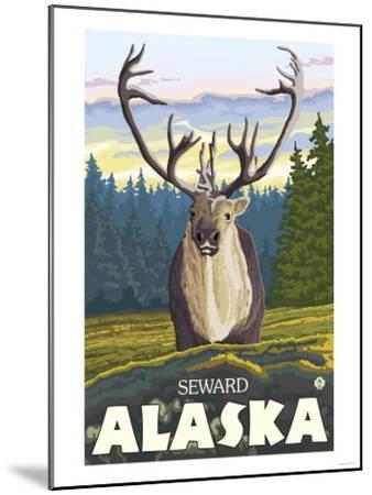 Caribou in the Wild, Seward, Alaska-Lantern Press-Mounted Art Print
