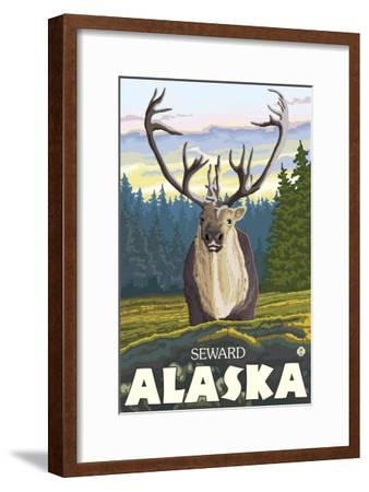 Caribou in the Wild, Seward, Alaska-Lantern Press-Framed Art Print
