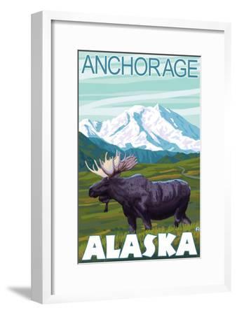 Moose Scene, Anchorage, Alaska-Lantern Press-Framed Art Print