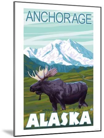 Moose Scene, Anchorage, Alaska-Lantern Press-Mounted Art Print