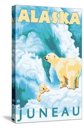 Polar Bears & Cub, Juneau, Alaska-Lantern Press-Stretched Canvas Print
