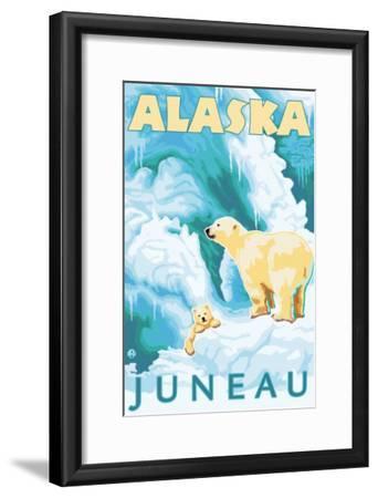 Polar Bears & Cub, Juneau, Alaska-Lantern Press-Framed Art Print