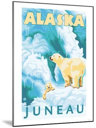 Polar Bears & Cub, Juneau, Alaska-Lantern Press-Mounted Art Print