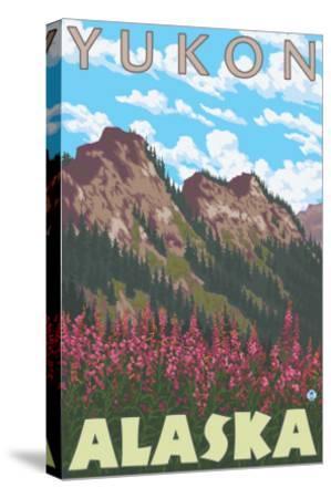 Fireweed & Mountains, Yukon, Alaska-Lantern Press-Stretched Canvas Print