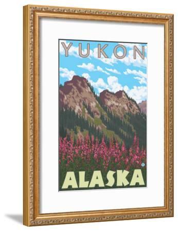 Fireweed & Mountains, Yukon, Alaska-Lantern Press-Framed Art Print