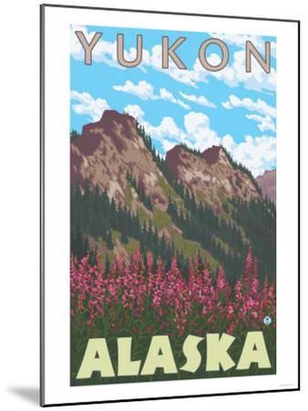 Fireweed & Mountains, Yukon, Alaska-Lantern Press-Mounted Art Print
