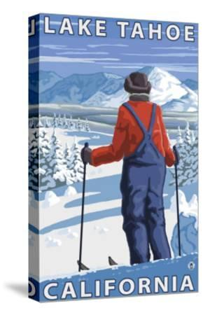 Skier Admiring, Lake Tahoe, California-Lantern Press-Stretched Canvas Print