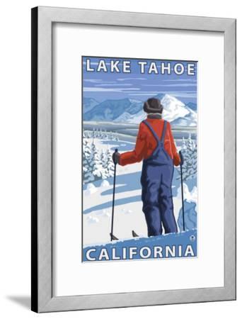 Skier Admiring, Lake Tahoe, California-Lantern Press-Framed Art Print